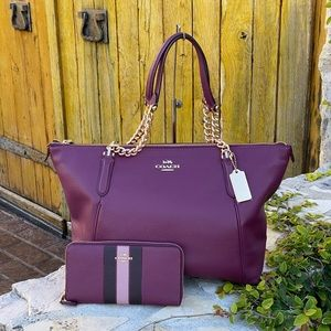 NWT Coach leather LG Ava chain satchel&wallet